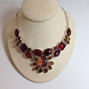 Anthropologie gemstone statement necklace